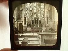 RARE Glass Magic Lantern Slide INSIDE A CHURCH TIDESWELL DERBYSHIRE