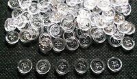 100 pcs Transparent White  buttons 4 hole size 9 mm
