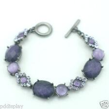 Rustic purple bangle bracelet with Swarovski crystals