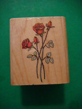 RUBBER STAMP ~ Flower: ROSES; 471E All Night Media 1986 Long Stem Rose Flowers