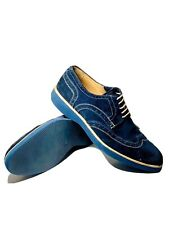 Barneys New York Wingtip swede shoes sz 11 blue