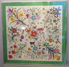 70s vtg  V Accornero floral GUCCI SILK SCARF professionally chrome framed glass