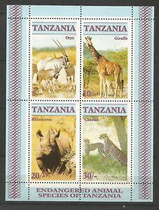 Tanzanie feuillet non oblitéré 1986 Y&TN°47 animaux en danger /CL3A