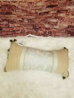 CROSCILL HOME RECTANGLE DECORATIVE PILLOW 22 X 10 IN  EMBROIDERED TEXTURED TAN