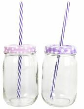Retro Clear Glass Drinking Jar With Lid And Straw ~ Lavender Design Vary