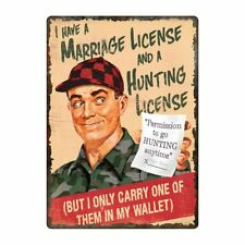 5988 River's Edge Marriage & Hunting License Tin Sign