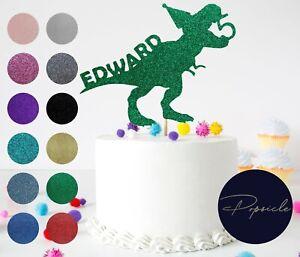 Personalised Dinosaur T-Rex Name & Age Birthday Glitter Cake Topper