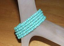 Beautiful Turquoise Beaded Wrap / Coil Bracelet - USA Made - Glass Beads - Aqua