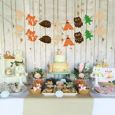 AG_ Lovely Forest Animal Bunting Banner Kids Birthday Baby Shower Party Decor No