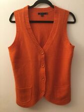 Boden Orange 100% Wool Vest With Button Front, Size 16