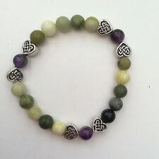 Connemara marble and amethyst bracelet.Celtic gemstone jewellery Valentine's day