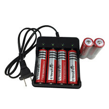 6X 18650 3.7V 6800mAh Li-ion Rechargeable Battery+US Plug Charger for Flashlight