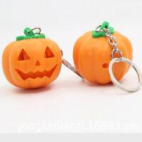 Mini Halloween Pumpkin LED Lights Vocal Key Chain Mini Flashlight Gifts