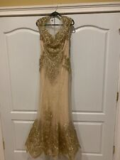 Jovani 39483 Gold Gown - Size 10 - BRAND NEW WITH TAGS.