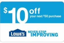 One Lowes $10 Off $50 Discount Expires 4-23-18 in-store or online