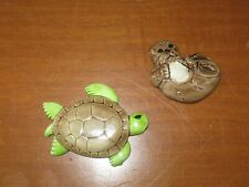 "2 Porcelain Animal Fridge Magnets, Otter + Sea Turtle, Large - 4"", Locker"