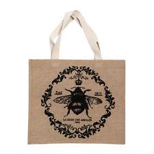 Queen Bee Shopping Bag Jute Hessian/Cotton Material Natural/Black Colour