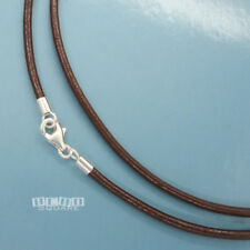 """Sterling Silver 2mm Round Genuine Leather Cord Necklace w/Lobster Clasp [12-40""""]"""