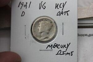 1921-D   KEY DATE   VG    MERCURY DIME
