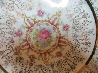 STUNNING 22K GOLD VOGUE DINNER PLATE GOLD FILIGREE PINK ROSE YELLOW FLOWERS 10 1