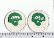 "Set of 2 Vintage 1980s Ny New York Jets 2"" Round Helmet Patch Old Logo Throwback"