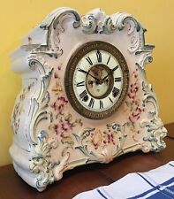 Ansonia Osage Porcelain Royal Bonn Open Visible Escapement Mantle Table Clock