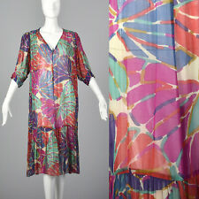 XL Ted Lapidus Boutique Sheer Floral Dress Vintage Summer Dress Loose Fitting