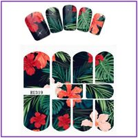Nail Art Water Decals Stickers Transfers Summer Black Tropical Palm Trees RU319