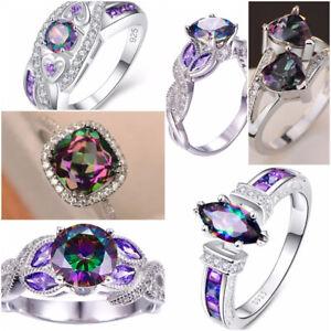 Fashion 925 Silver Jewelry Mystic Topaz Women Wedding Engagement Ring Size 6-10