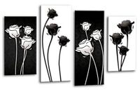 FLORAL FLOWER ART Picture Black White Abstract Canvas Wall Print Split