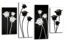 Floreale a Muro Arte Foto Stampa Floreale Nero e Bianco Pannello diviso