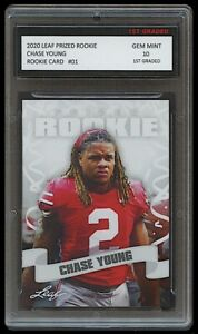 CHASE YOUNG 2020 LEAF PRIZED 1ST GRADED 10 ROOKIE CARD WASHINGTON FOOTBALL TEAM
