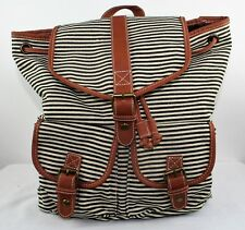 Backpack Striped 6 Compartments Blue Cream Brown Trim Ladies