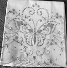 Pair++Vintage+White+Pillowcases-MADEIRA+Hand+Embroidered+Butterflies