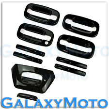 02-06 Chevy Avalanche Gloss Black 4 Door Handle+w/o PSG Keyhole+Tailgate Cover