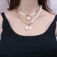 Boho Double Layer Butterfly Pendant Necklace Pearl Choker Chain Women Jewellery