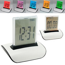 USA SHIP 7 ColorS LED Change Digital Alarm Clock LCD Thermometer Calendar Office