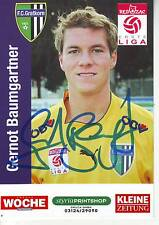 FOOTBALL carte joueur GERNOT BAUMGARTNER équipe FC GRATKORN signée