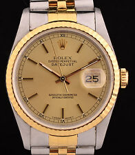 Excellent Rolex 18K & SS Datejust Wrist Watch Champagne Stick Dial Ref: 16233