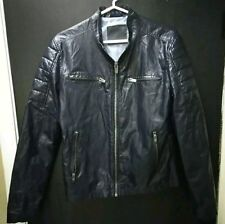 ZARA MAN NAVY BLUE BIKER JACKET Size M