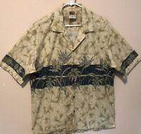 Winnie Fashion Men Hawaiian Tropical Tan Green Floral Shirt S/S (XL- 2XL)