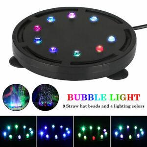 LED Aquarium Underwater Light Air Bubble Stone Multi Color For Fish Tank Round