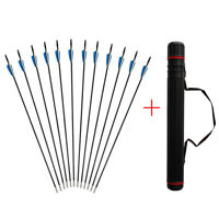 Archery Bow Arrows Hunting Target Practice Fiberglass Fletched Arrow Quiver Tube