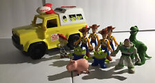Imaginext Toy Story Pizza Planet Vehicle, Woody Figures + Buzz, Jessie, Bullseye