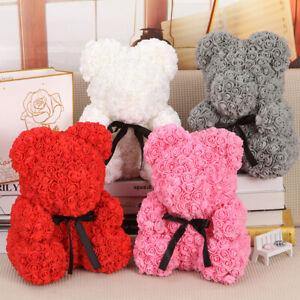 Lovely Rose Teddy Bear Dolls Foam Flowers Birthday Xmas Girl Gifts Wedding Decor