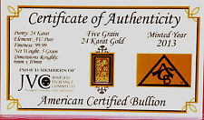 ACB 24k 99.99 fine Gold ACB 5Grain bullion bar with Certificate of Authenticity