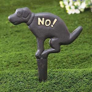 RUSTIC NO DOG POOPING POOP SIGN FOR LAWN YARD STAKE PET WASTE PEE CLEAN UP BLACK
