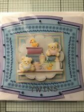 NEW BABY GREETING CARD, HANDMADE 3D CUTE COLORFUL 3D TOPPERS FOR TWINS