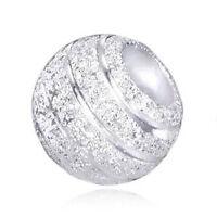 MATERIA Premium Beads Anhänger Stardust 925 Silber diamantiert Kugel mit Box