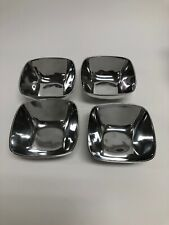 4 Pottery Barn Barona Metal Square Bowls, Retired/Discontinued. Never Used.